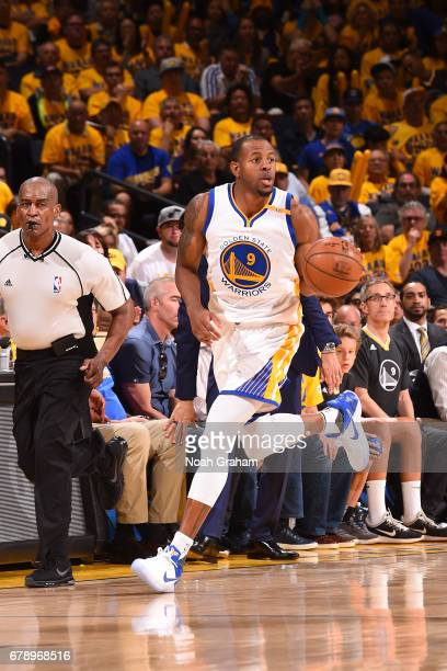 Andre Iguodala of the Golden State Warriors handles the ball against the Utah Jazz in Game Two the Western Conference Semifinals of the 2017 NBA...