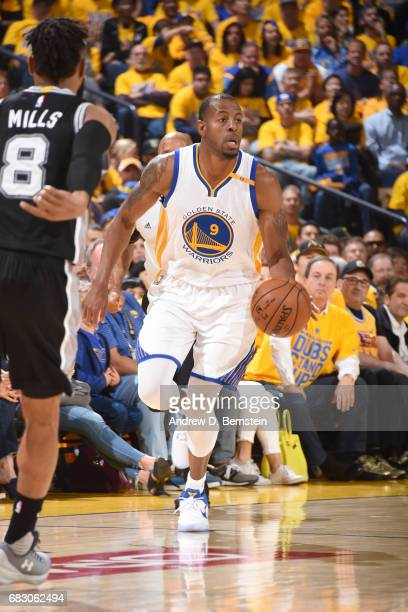 Andre Iguodala of the Golden State Warriors handles the ball against the San Antonio Spurs in Game One of the Western Conference Finals of the 2017...