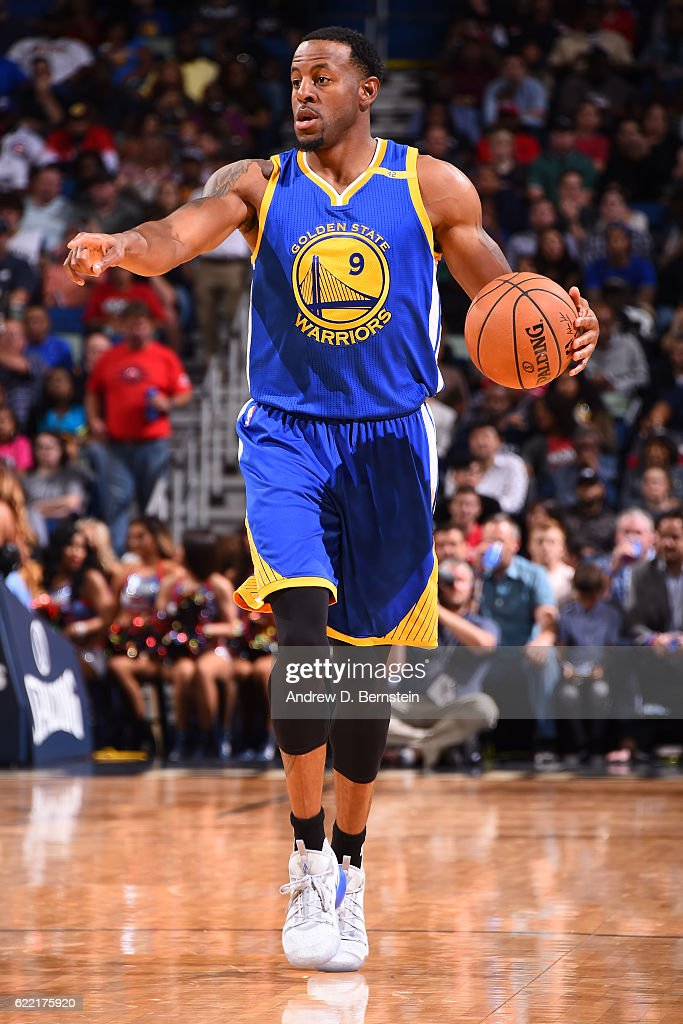 Andre Iguodala #9 of the Golden State Warriors handles the ball during a game against the New Orleans Pelicans at Smoothie King Center on October 28, 2016 in New Orleans, Louisiana.