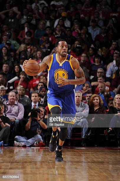 Andre Iguodala of the Golden State Warriors handles the ball during a game against the Houston Rockets on January 20 2017 at the Toyota Center in...