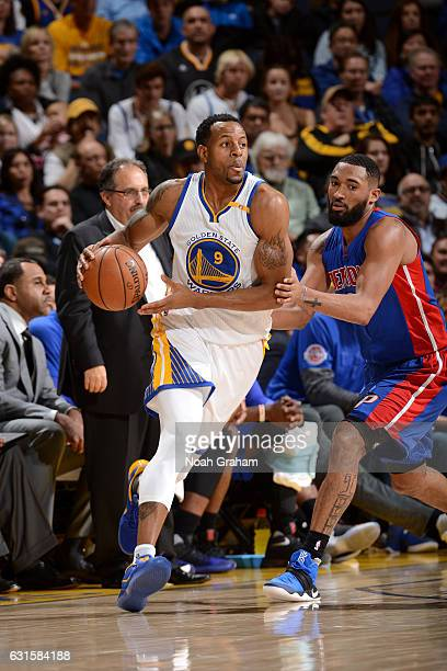 Andre Iguodala of the Golden State Warriors handles the ball during the game against the Detroit Pistons on January 12 2017 at ORACLE Arena in...