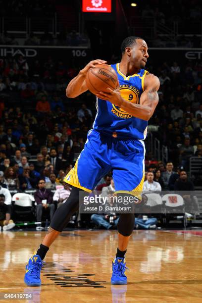 Andre Iguodala of the Golden State Warriors handles the ball during the game against the Washington Wizards on February 28 2017 at Verizon Center in...