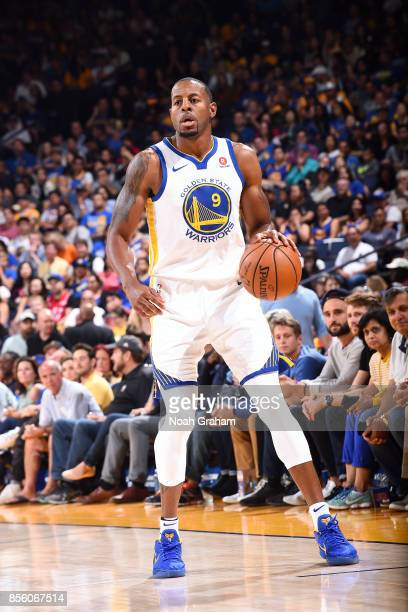 Andre Iguodala of the Golden State Warriors handles the ball during the game against the Denver Nuggets during a preseason game on September 30 2017...