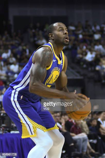 Andre Iguodala of the Golden State Warriors holds the ball during the game against the Minnesota Timberwolves as part of 2017 NBA Global Games China...