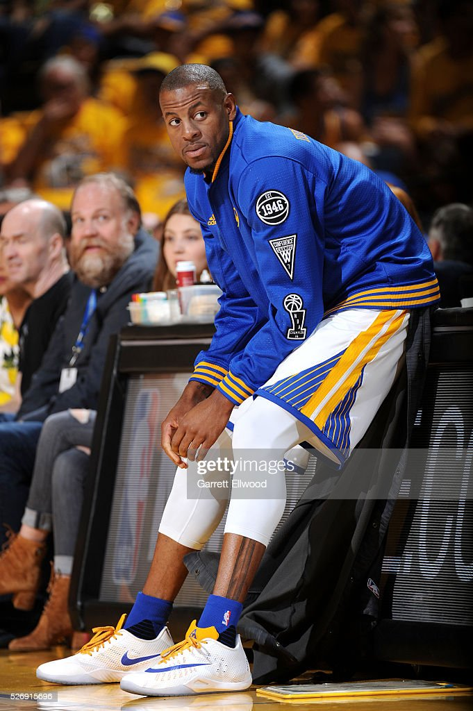 Andre Iguodala #9 of the Golden State Warriors looks on during the game against the Portland Trail Blazers in Game One of the Western Conference Semifinals during the 2016 NBA Playoffs on May 1, 2016 at ORACLE Arena in Oakland, California.