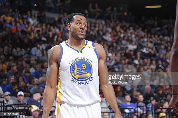 Andre Iguodala of the Golden State Warriors looks on during the game against the Sacramento Kings on January 8 2017 at Golden 1 Center in Sacramento...