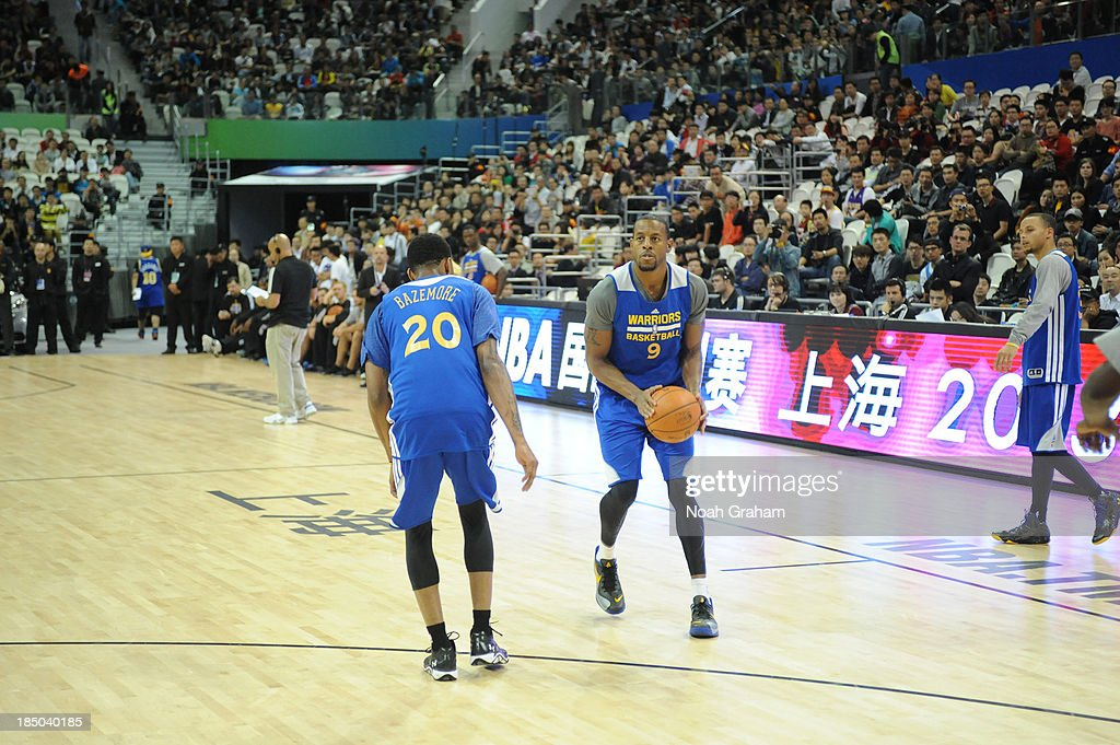 <a gi-track='captionPersonalityLinkClicked' href=/galleries/search?phrase=Andre+Iguodala&family=editorial&specificpeople=201980 ng-click='$event.stopPropagation()'>Andre Iguodala</a> of the Golden State Warriors looks to shoot during Fan Appreciation Day as part of the 2013 Global Games on October 17, 2013 at the Oriental Sports Center in Shanghai, China.