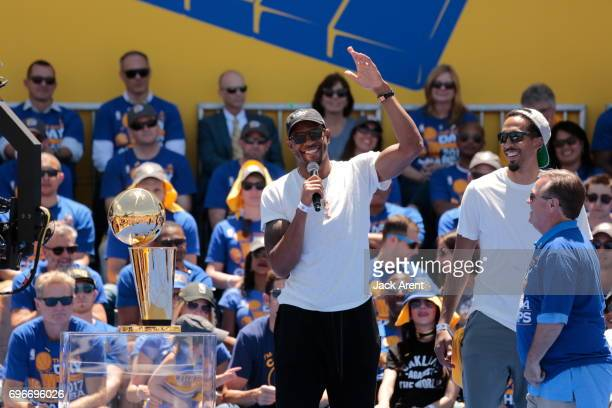 Andre Iguodala of the Golden State Warriors of the Golden State Warriors celebrates winning the 2017 NBA Championship during a parade on June 15 2017...