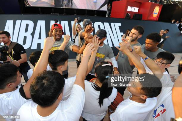 Andre Iguodala of the Golden State Warriors participates during Special Olympics Clinic as part of the 2017 Global Games China on October 7 2017 at...