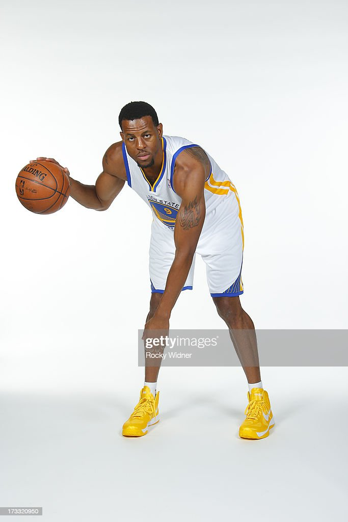 <a gi-track='captionPersonalityLinkClicked' href=/galleries/search?phrase=Andre+Iguodala&family=editorial&specificpeople=201980 ng-click='$event.stopPropagation()'>Andre Iguodala</a> #9 of the Golden State Warriors participates in a photo shoot on July 11, 2013 in Oakland, California.