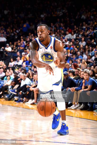 Andre Iguodala of the Golden State Warriors passes the ball during the game against the Denver Nuggets during a preseason game on September 30 2017...