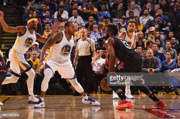 Andre Iguodala of the Golden State Warriors plays defense during a game against the Houston Rockets on March 31 2017 at ORACLE Arena in Oakland...