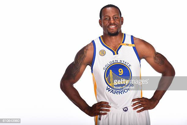Andre Iguodala of the Golden State Warriors poses for a portrait during NBA Media Day at Oracle Arena in Oakland California on September 26 2016 NOTE...