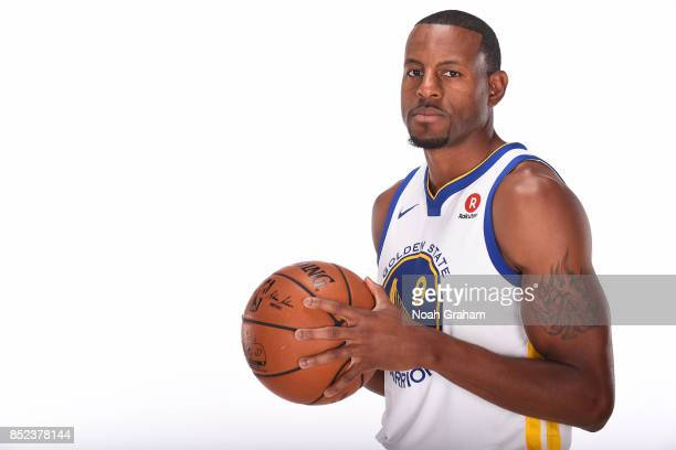 Andre Iguodala of the Golden State Warriors poses for a portrait during media day on September 22 2017 at Oracle Arena in Oakland California NOTE TO...