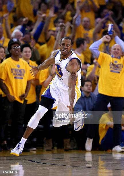 Andre Iguodala of the Golden State Warriors reacts after a dunk in the second quarter against the Houston Rockets during game two of the Western...
