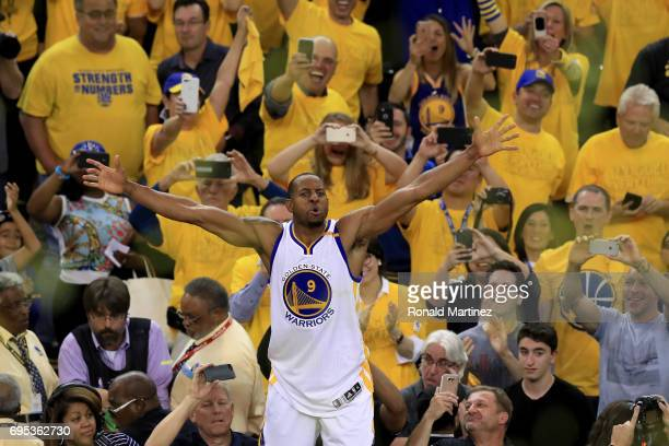 Andre Iguodala of the Golden State Warriors reacts after beating the Cleveland Cavaliers 129120 in Game 5 to win the 2017 NBA Finals at ORACLE Arena...