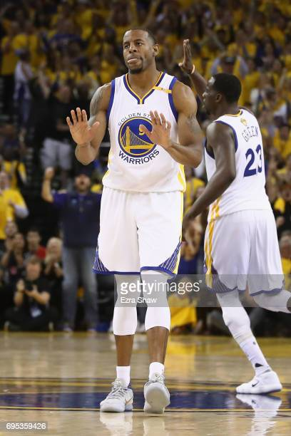 Andre Iguodala of the Golden State Warriors reacts after making a threepoint basket against the Cleveland Cavaliers in Game 5 of the 2017 NBA Finals...