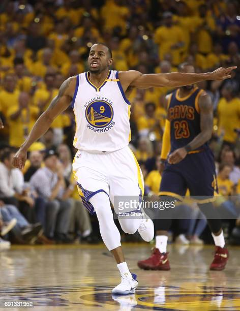 Andre Iguodala of the Golden State Warriors reacts against the Cleveland Cavaliers in Game 1 of the 2017 NBA Finals at ORACLE Arena on June 1 2017 in...