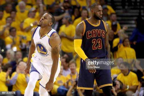 Andre Iguodala of the Golden State Warriors reacts to a play against the Cleveland Cavaliers in Game 1 of the 2017 NBA Finals at ORACLE Arena on June...