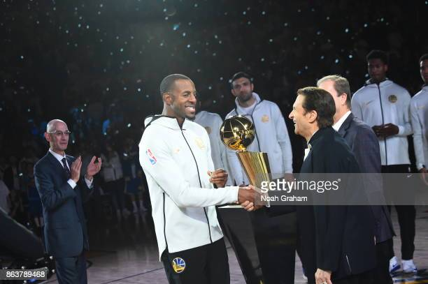Andre Iguodala of the Golden State Warriors receives his rings during the NBA Championship ring ceremony before the game against the Houston Rockes...