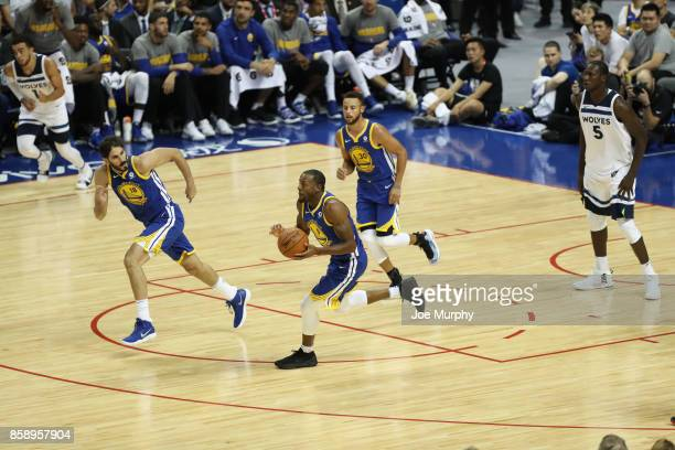 Andre Iguodala of the Golden State Warriors runs the fast break against the Minnesota Timberwolves as part of the 2017 Global Games China on October...