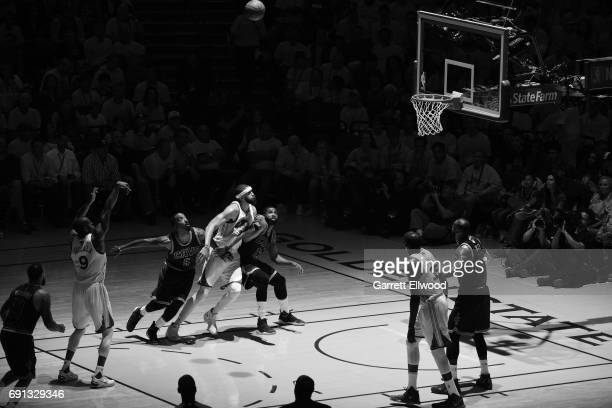 Andre Iguodala of the Golden State Warriors shoots a free throw against the Cleveland Cavaliers in Game One of the 2017 NBA Finals on June 1 2017 at...