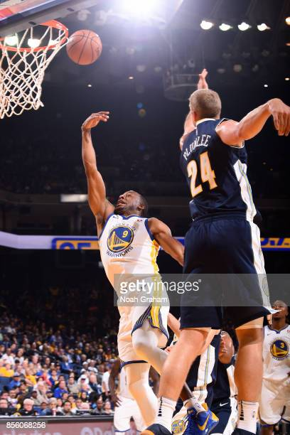 Andre Iguodala of the Golden State Warriors shoots a lay up during the game against the Denver Nuggets during a preseason game on September 30 2017...
