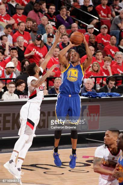 Andre Iguodala of the Golden State Warriors shoots the ball against the Portland Trail Blazers in Game Three of the Western Conference Quarterfinals...