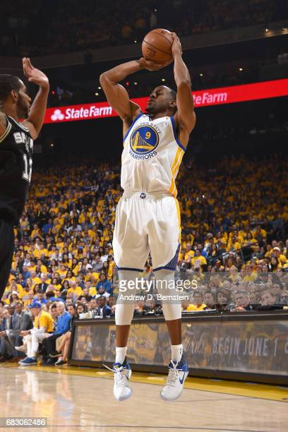 Andre Iguodala of the Golden State Warriors shoots the ball against the San Antonio Spurs in Game One of the Western Conference Finals of the 2017...