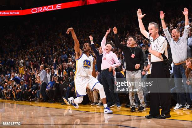 Andre Iguodala of the Golden State Warriors shoots the ball during the game against the Houston Rockets on March 31 2017 at ORACLE Arena in Oakland...