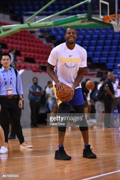 Andre Iguodala of the Golden State Warriors shoots the ball during practice and media availability at Shenzhen Gymnasium as part of 2017 NBA Global...