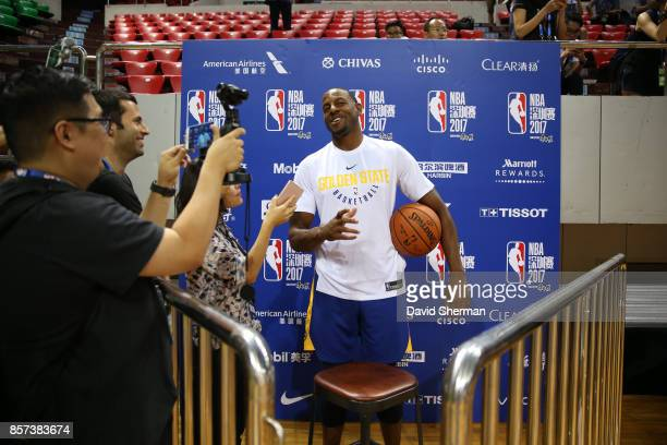 Andre Iguodala of the Golden State Warriors talks to press during practice and media availability at Shenzhen Gymnasium as part of 2017 NBA Global...