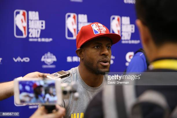 Andre Iguodala of the Golden State Warriors talks to the press during practice and media availability as part of 2017 NBA Global Games China on...