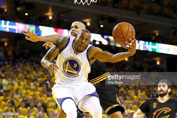 Andre Iguodala of the Golden State Warriors throws up a shot against Richard Jefferson of the Cleveland Cavaliers in Game 7 of the 2016 NBA Finals at...