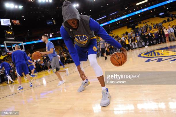 Andre Iguodala of the Golden State Warriors warms up before Game Five of the 2017 NBA Finals against the Cleveland Cavaliers on June 12 2017 at...