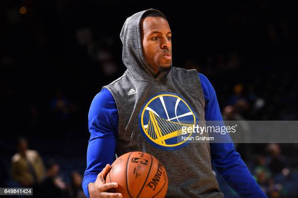 Andre Iguodala of the Golden State Warriors warms up before the game against the Boston Celtics on March 8 2017 at ORACLE Arena in Oakland California...
