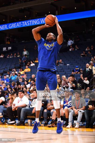 Andre Iguodala of the Golden State Warriors warms up before the game against the Denver Nuggets during a preseason game on September 30 2017 at...
