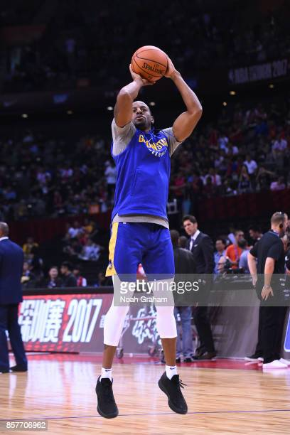 Andre Iguodala of the Golden State Warriors warms up before the game against the Minnesota Timberwolves as part of 2017 NBA Global Games China on...