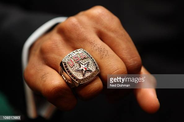 Andre Iguodala of the Philadelphia 76ers displays his 2010 World Basketball Championship ring at Tiffany's on February 20 2011 in Los Angeles...
