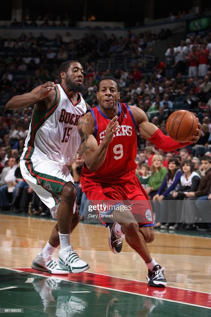 Andre Iguodala of the Philadelphia 76ers drives to the basket against John Salmons of the Milwaukee Bucks during the game on March 24 2010 at the...
