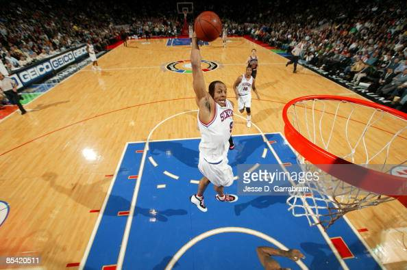 Andre Iguodala of the Philadelphia 76ers dunks against the Chicago Bulls during the game on March 13 2009 at the Wachovia Spectrum in Philadelphia...