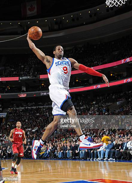 Andre Iguodala of the Philadelphia 76ers dunks the ball against the Miami Heat during the game on February 16 2010 at the Wachovia Center in...
