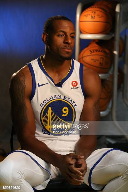 Andre Iguodala poses for a portrait at the Golden State Warriors media day September 22 2017 at the Rakuten Performance Center in Oakland CA