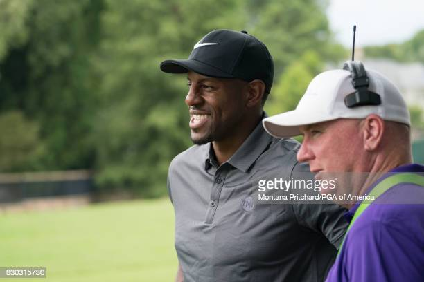 Andre Iguodala works with TNT for golf coverage during Round Two for the 99th PGA Championship held at Quail Hollow Club on August 11 2017 in...