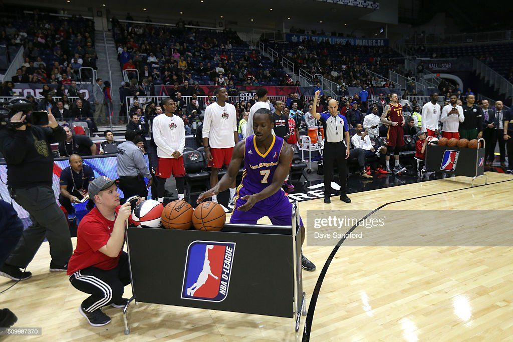 Andre Ingram #7 of the Los Angeles D-Fenders shoots the ball during the Three-Point contest during the NBA D-League All-Star Game 2016 presented by Kumho Tire as part of 2016 All-Star Weekend at the Ricoh Coliseum on February 13, 2016 in Toronto, Ontario, Canada.