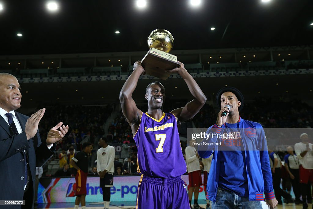 Andre Ingram #7 of the Los Angeles D-Fenders wins the NBA D-League All-Star 3 Point Contest during the NBA D-League All-Star Game 2016 presented by Kumho Tire as part of 2016 All-Star Weekend at the Ricoh Coliseum on February 13, 2016 in Toronto, Ontario, Canada.