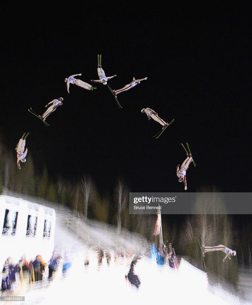 Andre Jean-Christophe #15 of Canada competes in the qualification round of the USANA Freestyle World Cup aerial competition at the Lake Placid Olympic Jumping Complex on January 19, 2013 in Lake Placid, New York.