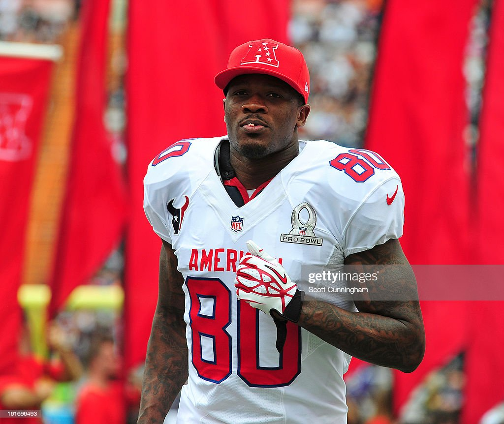 Andre Johnson #80 of the Houston Texans and the AFC is introduced before the 2013 Pro Bowl against the National Football Conference team at Aloha Stadium on January 27, 2013 in Honolulu, Hawaii