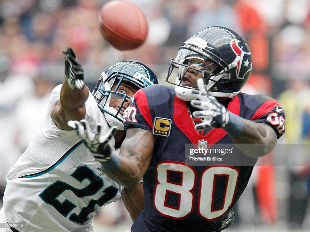 Andre Johnson #80 of the Houston Texans can't quite make the catch while Derek Cox #21 of the Jacksonville Jaguars defends on November 18, 2012 at Reliant Stadium in Houston, Texas.