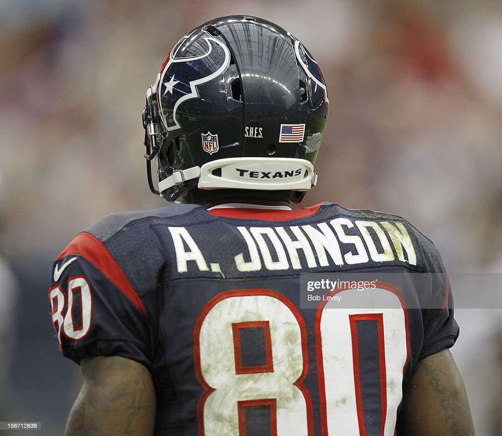 Andre Johnson #80 of the Houston Texans displays the initials S.H.E.S. in recognition of the Sandy Hook Elementary School during a game against the Minnesota Vikings at Reliant Stadium on December 23, 2012 in Houston, Texas. Minnesota Vikings defeat the Houston Texans 23-6.